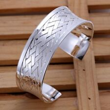 Fashion 925Sterling Solid Silver Jewelry Weave Cuff Bangles Bracelet K031