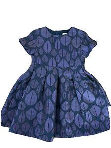 New Jacadi Paris Girls Iridescent Sparkle Blue Formal Leaf  Holiday dress 4