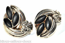 Boucles d'oreilles Taratata clips  vintages plaqué argent et noir bijou A4