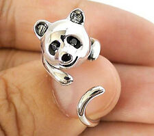 HANGING PANDA CUTE STERLING 925 SILVER RING Sz 6.5 NEW