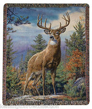 "THROWS - ""MAJESTIC DEER"" TAPESTRY THROW - LODGE - WOODLANDS- WILDLIFE"