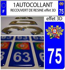 1 adesivo targa auto TUNING 3D RESINA STEMMA PORTOGALLO DIPARTIMENTO 75