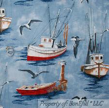 BonEful Fabric FQ VTG Cotton Quilt Blue Water Fish Sail*boat Scenic Seagull Bird