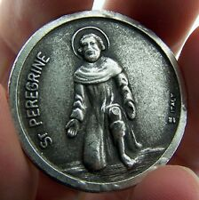 "St Peregrine & Saint Agatha Two Sided Metal Pocket Token 1 1/4"" Made in Italy"