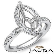Halo Diamond Engagement VS1-VS2 Ring 0.51Ct 14k White Gold Marquise Semi Mount