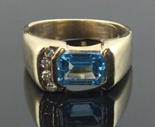 Estate 14k Yellow Gold Emerald Cut Blue Topaz Ring with Accent Diamonds Size 4.5