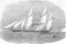 SHIPS. Gun-ship Wrangler, built for Baltic, antique print, 1854