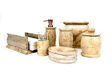 Sahara Beige Marble 7-Piece Bathroom Accessories Set of Pacific Collection