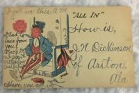 "Vintage Postcard ""ALL IN""  Cartoon Man  early 1900s  red white blue"