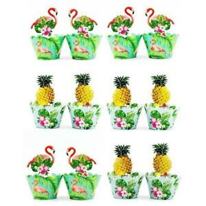 24 Pcs Flamingo Pineapple Tropical Cupcake Wrappers and Toppers Birthday Party