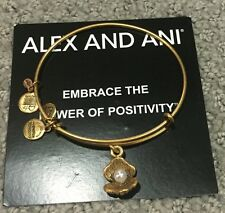 New Alex and Ani Bracelet Oyster Shell with Pearl Charm Bangle Rafaelian Gold