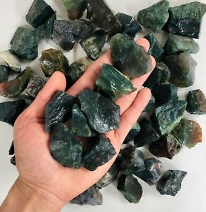 Raw Moss Agate - From India - Bulk Rough Crystals Natural Healing Gemstones