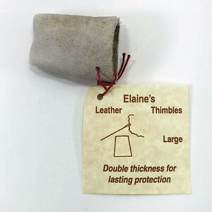 Genuine Goat Leather Thimble Elaines Quilting Cross Stitch Embroidery Size Large