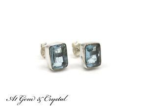 A1 - Genuine Aquamarine Gemstone Earrings - Sterling Silver Rectangle