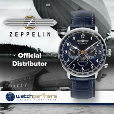 Zeppelin LZ129 Hindenburg Mens watch 40mm Blue dial Steel case Moon phase 7036-3