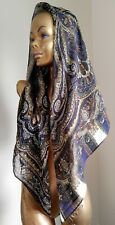 EMANUEL UNGARO Large 100% Silk Square Scarf Shawl Black Brown Olive Eggplant