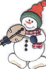 SET OF 2 - SNOWMAN w/MANDOLIN-Iron On Embroidered Applique/Snowmen/Winter