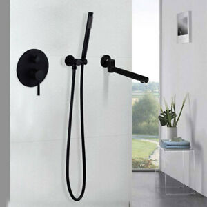 Brass Bathroom Hand Shower Mixer Faucet Concealed Wall Mounted Mixer Tub Taps