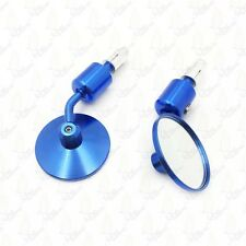 "CNC Blue Rear View Handle Bar End Round Mirrors 1"" 25mm"
