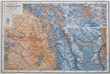 Frente Occidental Champán & Verdun WW1 1914-18 mapa c.1920