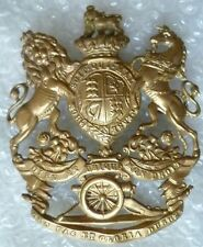 Badge- VICTORIAN British Army Royal Artillery Helmet Plate Badge QVC (BRASS)ORG*