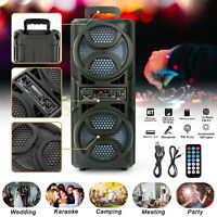 """Dual 6.5""""  Woofer Powered BT FM Speaker LED Wireless Portable Audio Stereo Party"""