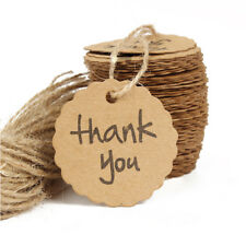 25pcs Thank You Gift Tag 4cm Round Craft Paper plus Twine, Weddings, Birthdays