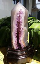 714g Rare Natural Amethy Quartz Crystal In Agate Pillars Points Uruguay W2238