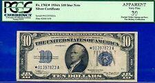 Rare FR-1702* 1934-A $10 S/C (( STAR )) PCGS V-F 30 Apparent # *01397823A.