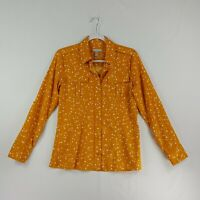 Banana Republic Womens Long Sleeve Button Down Front Top Small Yellow White Star