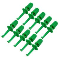 10 x Spring Loaded SMD IC Test Hook Clip Green for Multimeter Lead Cable T5O2
