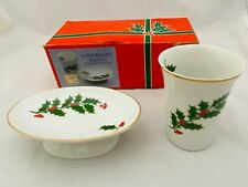 Vtg White Porcelain Christmas Tree Cup & Soap Dish Bathroom Set W/Gold Trim Box