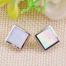 Princess Cut White Opal 925 Sterling Silver Ear Stud Earring Womens Jewelry Gift