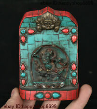 Collect Chinese Wood Inlay Turquoise Gem Gelug Yamantaka Yamataka Buddha Statue