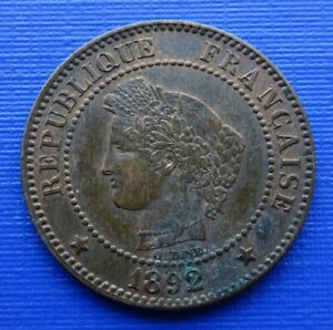 France 2 Centimes Coin, 1892 (A) Ceres Left, KM#827.1, Bronze 2g~VF+~X041