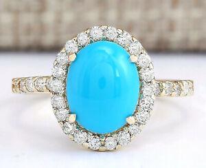 2.67 Carat Natural Turquoise 14K Yellow Gold Diamond Ring