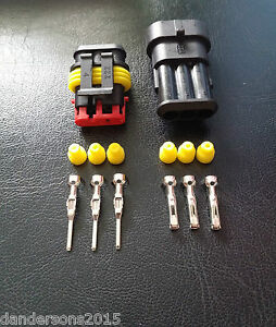 3 Pin Automotive Plug Pair - for Motorbike, Cars - Flame Retardant & Water Proof