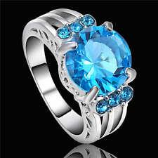 Aquamarine Blue Wedding Ring White Rhodium Plated Women's Jewelry Size 8