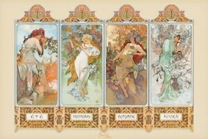 New Seasons, 1896 By Alphonse Marie Mucha Poster