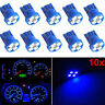 10pcs T10 W5W 194 2825 Wedge Blue 4-SMD LED Dashboard Light Gauge Cluster Bulbs