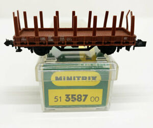 3587 Stake Wagon Minitrix N Gauge Boxed