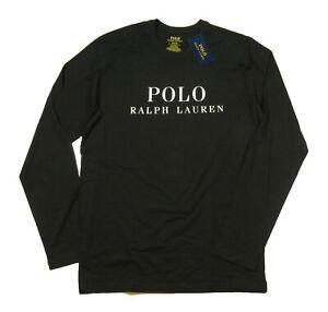 Polo Ralph Lauren Men's Black Logo Graphic Crew-Neck Long Sleeve Sleep T-Shirt