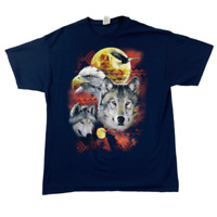 Jerzees Mens Crew Neck Short Sleeve Graphic Printed Blue T Shirt Size XL