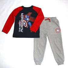 New Boys AVENGERS Captain America 2pc Long-Sleeve T-Shirt & Sweatpants Set Sz. 5