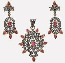 5.75cts Rose Cut Diamond Ruby Antique Victorian 925 Silver Earring Pendant Set