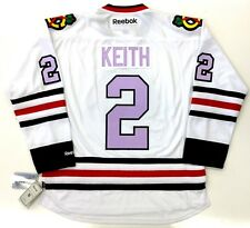 DUNCAN KEITH CHICAGO BLACKHAWKS LAVENDER CANCER REEBOK PREMIER JERSEY