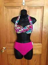 NEW 2 Piece Bikini Floral Halter Style Push Up Size 8 Medium Swimsuit Pink