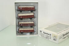 M+D Klein Modellbahn H0 091 4er Set Hochbordwagen 0mm DB OVP neuwertig (JS6814)