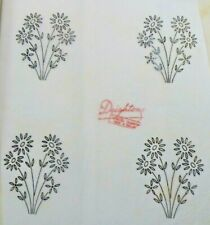 Vintage iron on embroidery transfer-daisy flower spray Deightons Transfer K30593