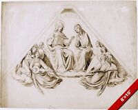 JESUS CHRIST & VIRGIN MARY WITH ANGELS & MUSIC PAINTING ART REAL CANVAS PRINT
